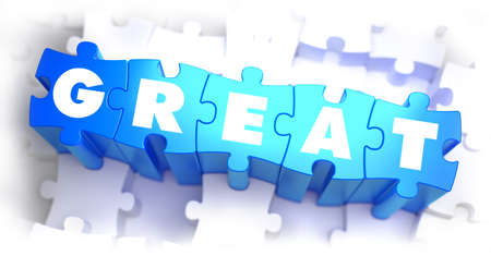 transcendent: Great - White Word on Blue Puzzles on White Background. 3D Illustration. Stock Photo