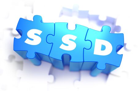 ssd: SSD - White Word on Blue Puzzles on White Background. 3D Render.