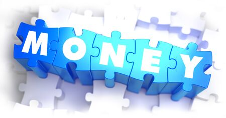 selective: Money - White Text on Blue Puzzles and Selective Focus. 3D Illustration. Stock Photo