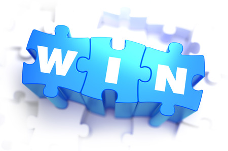 Win - White Word on Blue Puzzles on White Background. 3D Illustration.