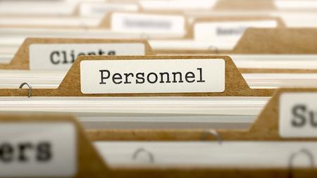 Personnel Word on Folder Register of Card Index. Selective Focus.