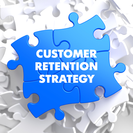 and is favorable: Customer Retention Strategy on Blue Puzzle on White Background.