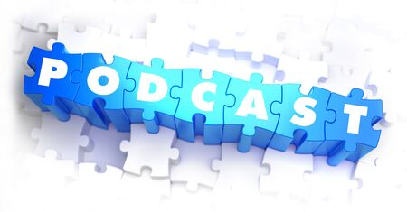 news flash: Podcast - Text on Blue Puzzles on White Background. 3D Render.