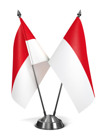 Indonesia - Miniature Flags Isolated on White Background.