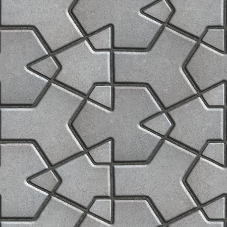 built: Gray Paving Slabs Built of Crossed Pieces a Various Shapes. Seamless Tileable Texture. Stock Photo
