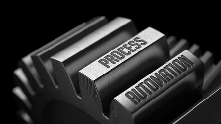 Process Automation auf den Metal Gears auf schwarzem Hintergrund. Lizenzfreie Bilder
