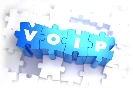 mobile voip: VoIP - White Word on Blue Puzzles on White Background. 3D Illustration.