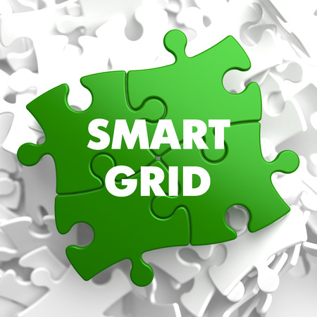 smart grid: Smart Grid on Green Puzzle on White Background.