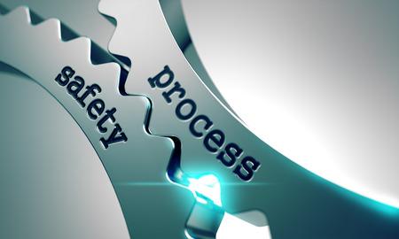 procedimiento: Seguridad de Procesos sobre el Mecanismo de engranajes de metal. Foto de archivo