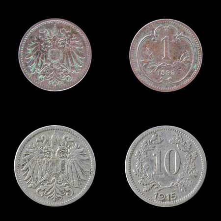 obverse: Obverse and Reverse of Two European Coins on a Black Background. Stock Photo