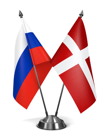 sovereign: Russia and Sovereign Military Order Malta - Miniature Flags Isolated on White Background.