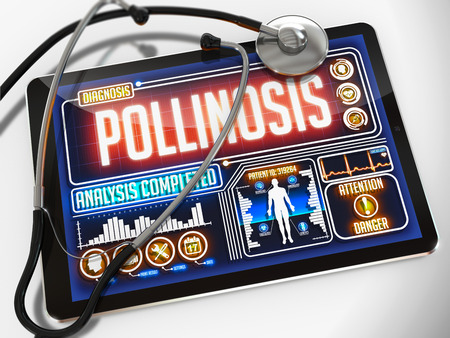 inhaled: Pollinosis - Diagnosis on the Display of Medical Tablet and a Black Stethoscope on White Background.