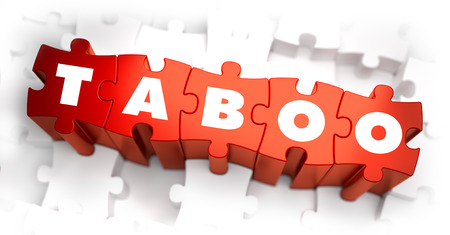 verification: Taboo - Text on Red Puzzles with White Background. 3D Render. Stock Photo