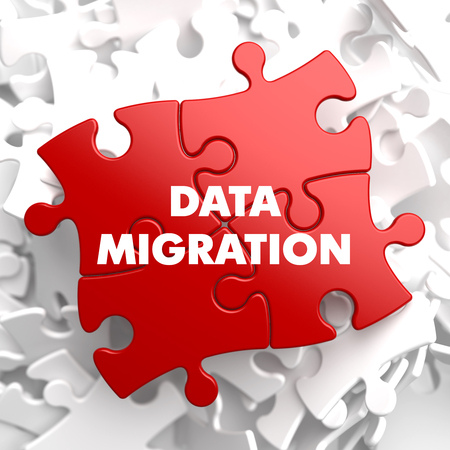 migration: Data Migration on Red Puzzle on White Background.
