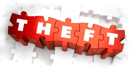 theft: Theft - White Word on Red Puzzles on White Background. 3D Illustration. Stock Photo