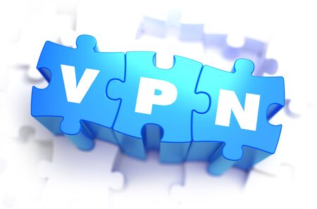 tcp: VPN - White Word on Blue Puzzles on White Background. 3D Illustration. Stock Photo