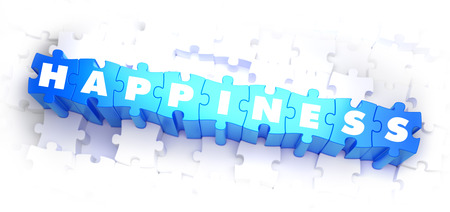 sensation: Happiness - White Word on Blue Puzzles on White Background. 3D Illustration.