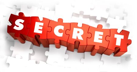 espionage: Secret - Text on Red Puzzles with White Background. 3D Render.