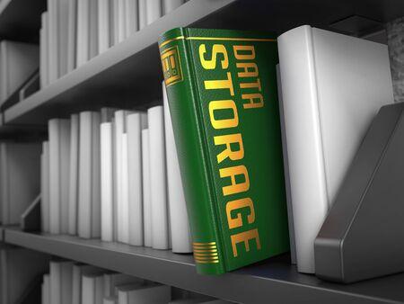 safekeeping: Data Storage - Green Book on the Black Bookshelf Between White Ones. Stock Photo