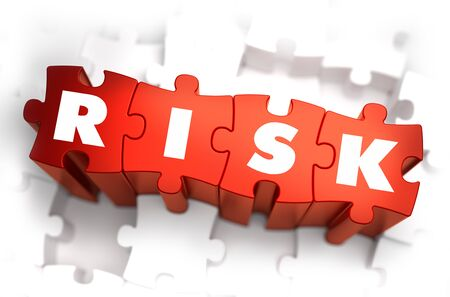 precipice: Risk - White Word on Red Puzzles on White Background. 3D Render.