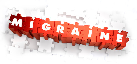 lethargy: Migraine - White Word on Red Puzzles on White Background. 3D Render. Stock Photo