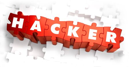 Hacker - Text on Red Puzzles with White Background. 3D Render. photo