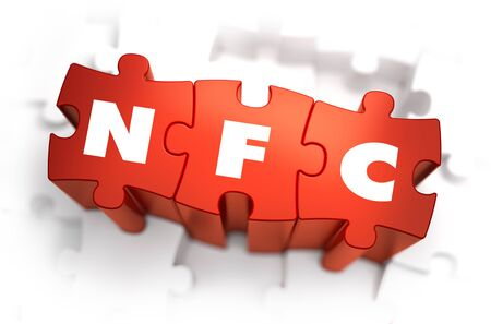 nfc: NFC - White Word on Red Puzzles on White Background. 3D Render.