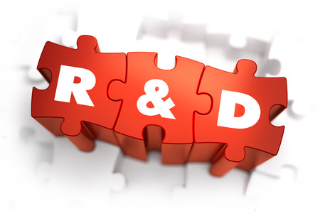 rd: Research and Development - White Word on Red Puzzles on White Background. 3D Render. Stock Photo