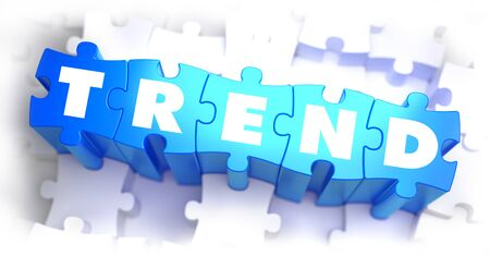tendency: Trend - White Word on Blue Puzzles on White Background. 3D Illustration.