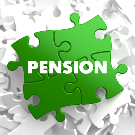 subsidize: Pension on Green Puzzle on White Background. Stock Photo