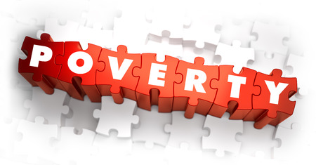 miserable: Poverty - White Word on Red Puzzles on White Background. 3D Render. Stock Photo