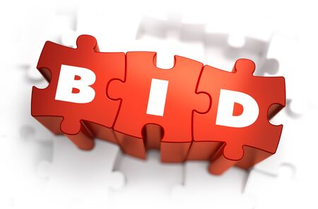 winning bid: Bid - White Word on Red Puzzles on White Background. 3D Illustration.
