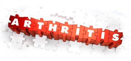 Arthritis - White Word on Red Puzzles on White Background. 3D Illustration. illustration