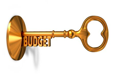 marginal: Budget - Golden Key is Inserted into the Keyhole Isolated on White Background