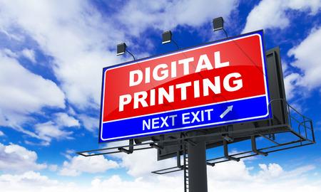 Digital Printing Inscription on Red Billboard on Sky Background.