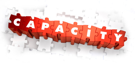 capacity: Capacity - White Word on Red Puzzles on White Background. 3D Illustration. Stock Photo