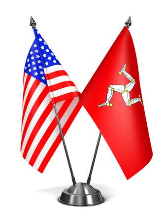bailiwick: USA and Isle Man - Miniature Flags Isolated on White Background.
