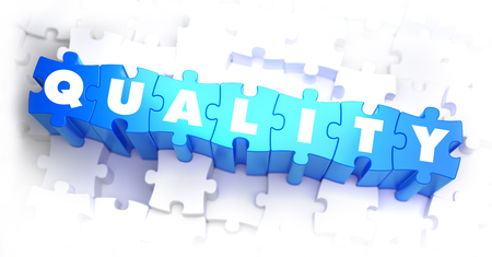 norm: Quality - White Text on Blue Puzzles on White Background and Selective Focus. 3D Render. Stock Photo