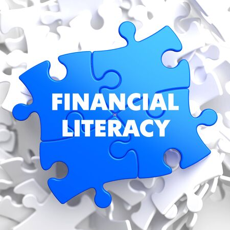 Financial Literacy on Blue Puzzle on White Background.