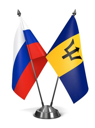 barbadian: Russia and Barbados - Miniature Flags Isolated on White Background.