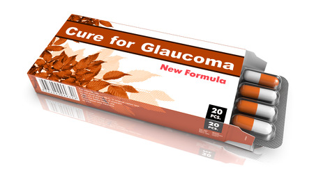 Cure for   Glaucoma - Light Brown Open Blister Pack of Pills Isolated on White. Stock Photo