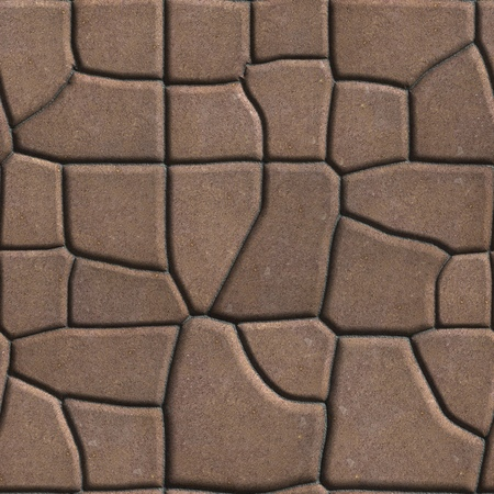 figured: Brown Figured Paving Slabs of Different Value which Imitates Natural Stone. Seamless Tileable Texture. Stock Photo