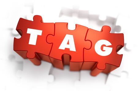 Tag - Text on Red Puzzles with White Background. 3D Render. photo