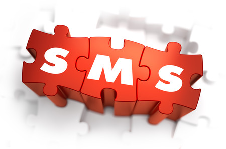 subscriber: SMS - Text on Red Puzzles with White Background. 3D Render.