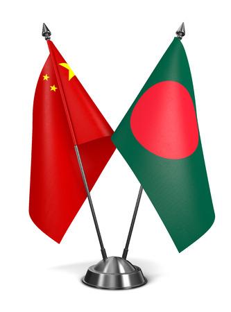 China and Bangladesh - Miniature Flags Isolated on White Background. photo