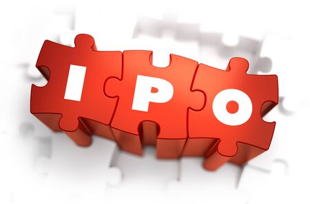 initial public offerings: IPO - Text on Red Puzzles with White Background. 3D Render.