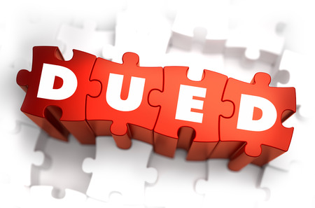 financial condition: DueD - Text on Red Puzzles with White Background. 3D Render. Stock Photo