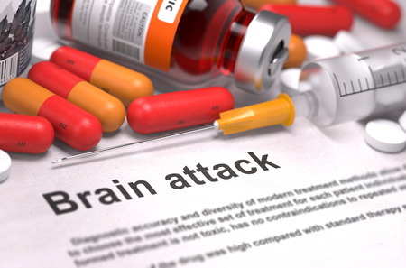 cva: Brain Attack - Printed Diagnosis with Blurred Text. On Background of Medicaments Composition - Red Pills, Injections and Syringe. Stock Photo