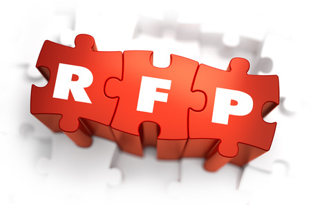 inquire: RFP - White Word on Red Puzzles on White Background. 3D Render.