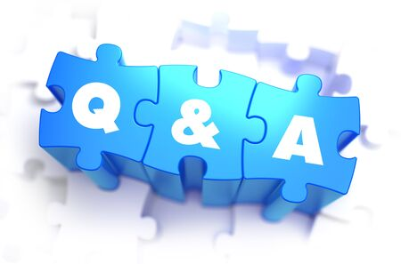 Question and Answer - White Text on Blue Puzzles on White Background and Selective Focus. 3D Render. photo